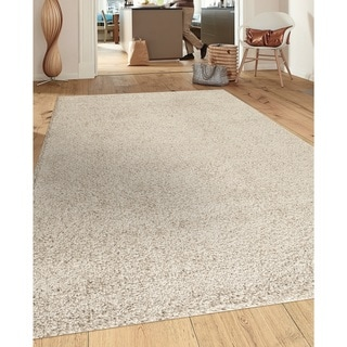 Porch & Den Marigny Kerlerec Solid Cream Indoor Shag Area Rug (8' x 10')