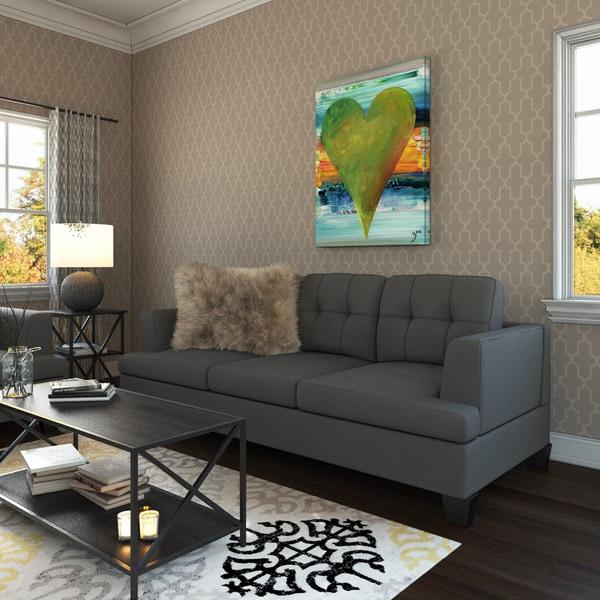 Porch Den Westgate Grey Microfiber Contemporary Sofa
