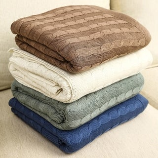 100 Percent Fine Combed Cotton Oversized Cable Knit Throws