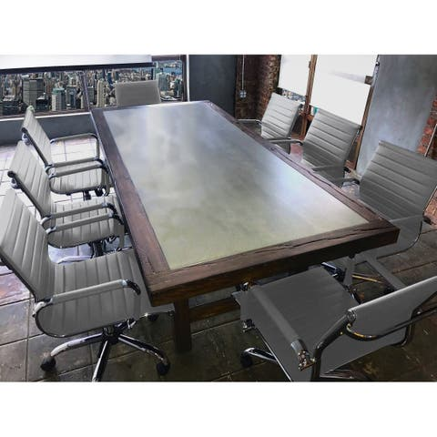 SOLIS Aperto Solid Wood With Concrete Table and Grey Ribbed Leather Office Chairs 9-piece Conference Set