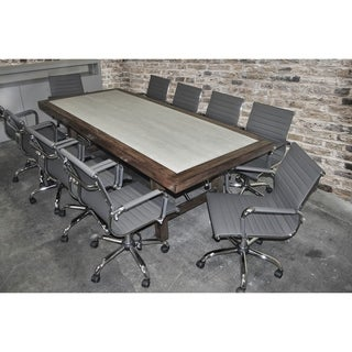 SOLIS Aperto Solid Wood With Concrete Table and Grey Ribbed Leather Office Chairs 11-piece Conference Set