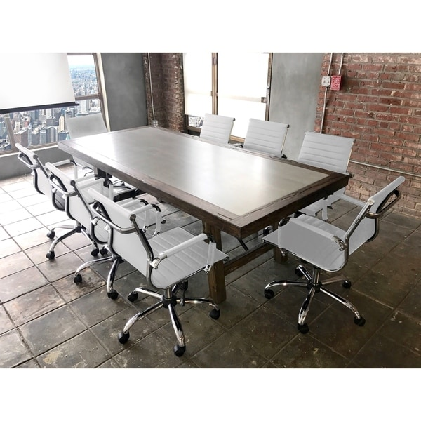 Shop SOLIS Aperto Solid Wood With Concrete Table And White Ribbed - Marble conference table for sale