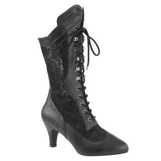 PLEASER PINK LABEL DIVINE-1050 Women's Lace up Kitten Heel Calf High Dress Boots