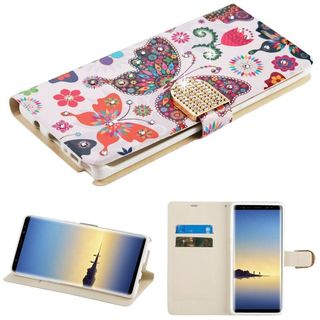 Insten Multi-Color Butterfly Wonderland Leather Case Cover with Stand/Wallet Flap Pouch/Diamond For Samsung Galaxy Note 8