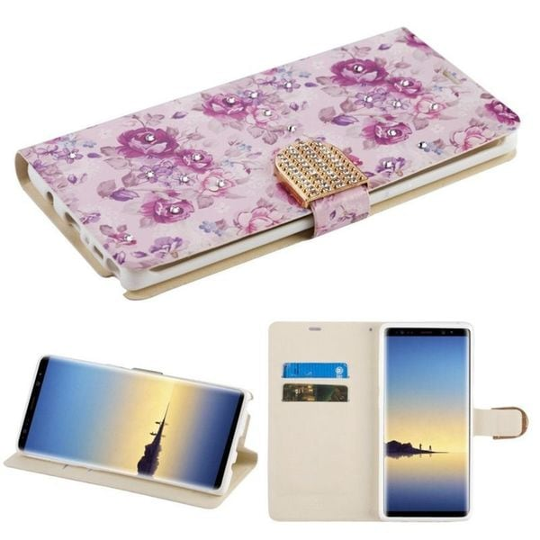 Insten Multi-Color Fresh Flowers Leather Case Cover with Stand/Wallet Flap Pouch/Diamond For Samsung Galaxy Note 8