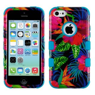 Insten Multi-Color Electric Hibiscus Tuff Hard Snap-on Dual Layer Hybrid Case Cover For Apple iPhone 5C