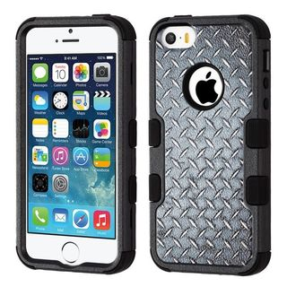 Insten Black Aluminum Treads Tuff Hard Snap-on Dual Layer Hybrid Case Cover For Apple iPhone 5/5S/SE