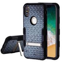 Insten Black Aluminum Treads Tuff Hard Snap-on Dual Layer Hybrid Case Cover with Stand For Apple iPhone X