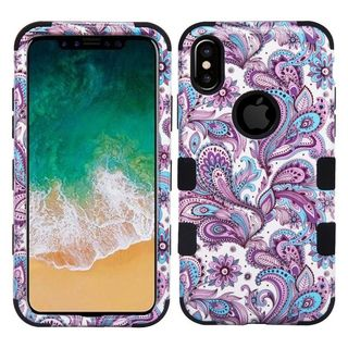 Insten Purple/Black European Flowers Tuff Hard Snap-on Dual Layer Hybrid Case Cover For Apple iPhone 8