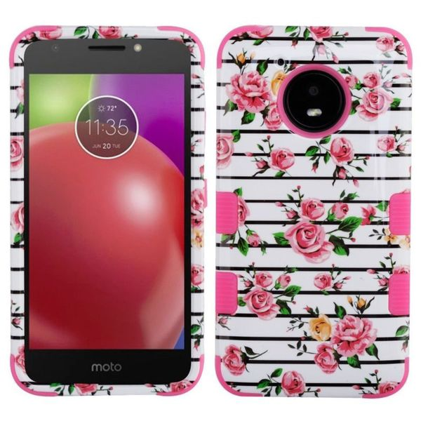 Insten Multi-Color Fresh Roses Tuff Hard Snap-on Dual Layer Hybrid Case Cover For Motorola Moto E4