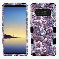 Insten Purple/Black European Flowers Tuff Hard Snap-on Dual Layer Hybrid Case Cover For Samsung Galaxy Note 8