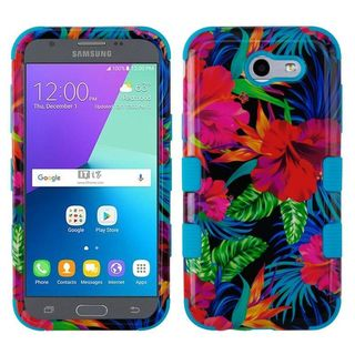 Insten Multi-Color Electric Hibiscus Hard Snap-on Dual Layer Hybrid Case Cover For Samsung Galaxy Amp Prime 2/Express Prime 2