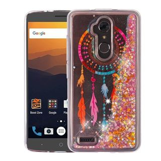 Insten Multi-Color Dreamcatcher Quicksand Glitter Hard Snap-on Dual Layer Hybrid Case Cover For ZTE Blade Max 3/ Max XL N9560
