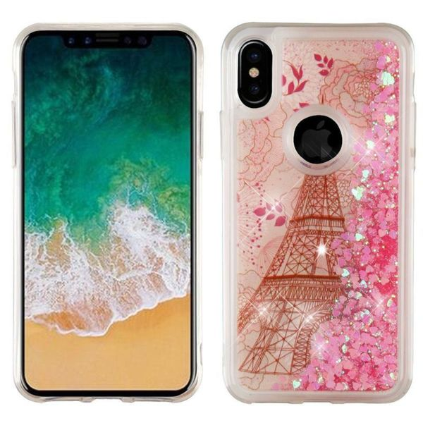 Insten Multi-Color Eiffel Tower Quicksand Glitter Hard Snap-on Dual Layer Hybrid Case Cover For Apple iPhone X