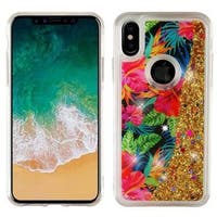 Insten Multi-Color Electric Hibiscus Quicksand Glitter Hard Snap-on Dual Layer Hybrid Case Cover For Apple iPhone X
