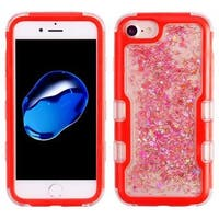 Insten Red Quicksand Glitter Hard Snap-on Dual Layer Hybrid Case Cover For Apple iPhone 6/ 6s/ 7