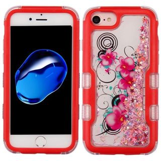 Insten Red Morning Petunias Quicksand Glitter Hard Snap-on Dual Layer Hybrid Case Cover For Apple iPhone 6/ 6s/ 7