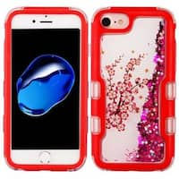 Insten Red Spring Flowers Quicksand Glitter Hard Snap-on Dual Layer Hybrid Case Cover For Apple iPhone 6/ 6s/ 7