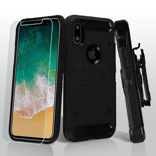 Insten Hard Snap-on Dual Layer Hybrid Case Cover with Stand/ Holster/ Bundled For Apple iPhone 8