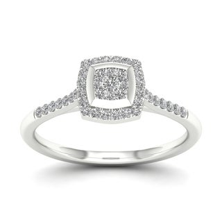 De Couer 10k White Gold 1/4ct TDW Diamond Cluster Halo Ring
