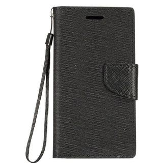 Insten Denim Fabric Case Cover Lanyard with Stand/ Card Slot/ Photo Display For LG Fiesta LTE/ K10 Power/ X Charge/ X Power 2