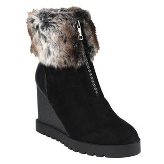 Beston EJ00 Women's Front Zipper Wedge Heel Lug Sole Snow Ankle Booties