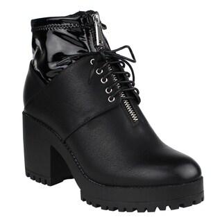 Beston EJ02 Women's Dual Zippers Lace Up Front Lug Sole Block Heel Ankle Booties