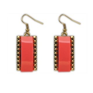 18k Yellow Gold Overlay Solid Red/White Glass Dangle Earrings