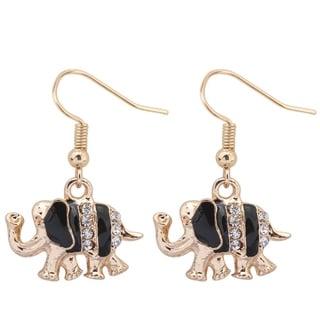 Enamel & Rhinestones 18k Yellow Gold Overlay Elephant Dangle Earrings