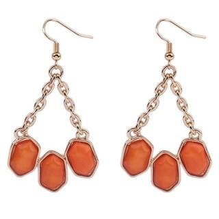 18k Gold Overlay Orange/Black Glass 3-Stone Dangle Earrings
