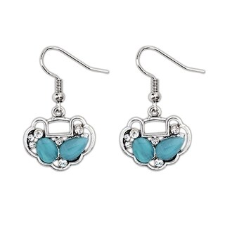 Silver Overlay Multi/Blue/Pink Color Glass Fashion Dangle Earrings (3 options available)