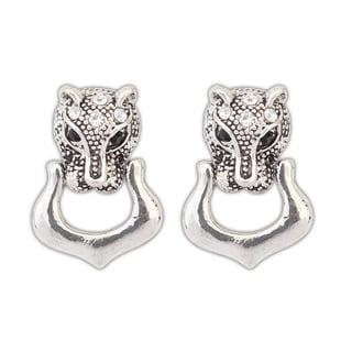Silver Overlay Rhinestones Lion Stud Earrings - White