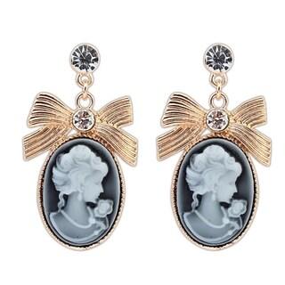 18k Oxidized Gold Overlay Finish Fancy Glass Oval Drop Earrings - Black
