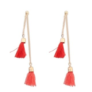 18k Yellow Gold Overlay Tassel Tassel Drop Earrings - Red