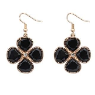 Black/Pink Glass Silver Overlay Clover Shaped Dangle Earrings