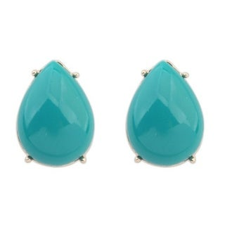 Glass Turquoise Silver Overlay Pear Shaped Stud Earrings - Blue