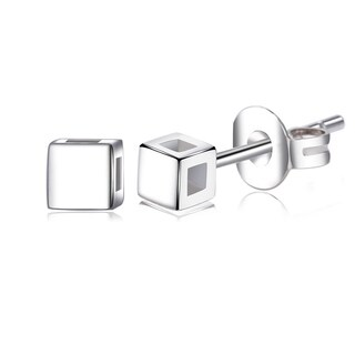 Silver Overlay Square Cube Stud Earrings - White