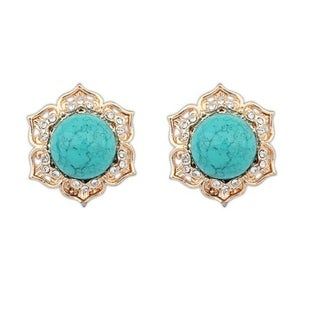 18k Yellow Gold Overlay Glass Turquoise Stud Earrings - Blue