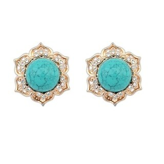 18k Yellow Gold Overlay Glass Turquoise Stud Earrings - Blue