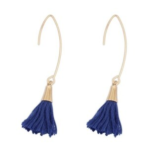 Tassel 18k Yellow Gold Overlay Tassel Drop Earrings - Blue