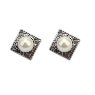 Simulated Pearl Silver Overlay Square Stud Earrings - White