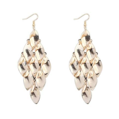 18k Yellow Gold Overlay Leaf Dangle Earrings