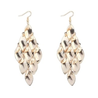 18k Yellow Gold Overlay Leaf Dangle Earrings
