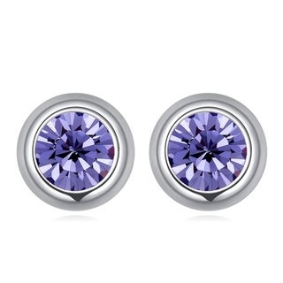 Many Color of Your Choice Glass Silver Overlay Solitaire Bezel Stud Earrings