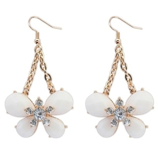 White Glass 18k Yellow Gold Overlay Floral Dangle Earrings
