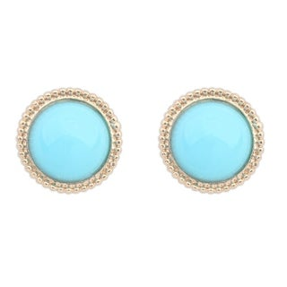 18k Yellow Gold Overlay Glass Turquoise Round Stud Earrings - Blue