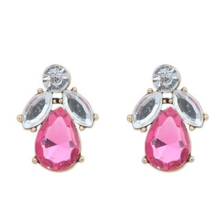 Pink Glass Silver Overlay Small Stud Earrings