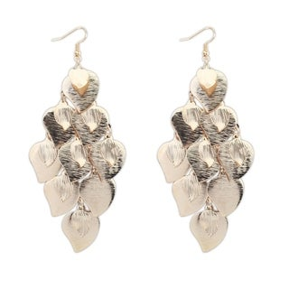 18k Yellow Gold Overlay Heart Leaf Dangle Earrings