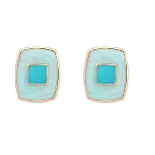 18k Yellow Gold Overlay Enamel Turquoise Color Stud Earrings - Blue