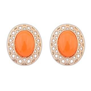 Orange Glass Silver Overlay Oval Stud Earrings